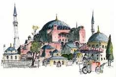 Hagia Sophia, Istanbul – Tuba Mete – Join the world of pin Sketch Painting, Watercolor Sketch, Watercolor Illustration, Watercolor Background, Simple Watercolor, Watercolor Trees, Tattoo Watercolor, Watercolor Animals, Watercolor Landscape