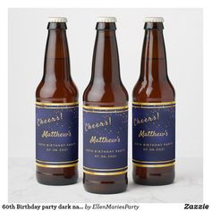 Shop Birthday party dark navy blue gold cheers Beer Bottle Label created by EllenMariesParty. Dark Navy Blue, Blue Gold, Bottle Labels, Beer Bottle, 90th Birthday Parties, Birthday Gifts, Champagne Label, Cheers, Men