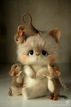 Pets, Home & Garden: Ideal toys for small cats Needle Felted Animals, Felt Animals, Cute Baby Animals, Needle Felting, Animals And Pets, Funny Animals, Cute Animal Drawings, Cute Drawings, Felt Cat