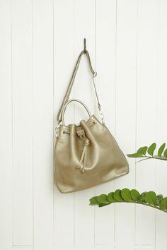"""Charlie Bucket Bag"" Gold Pebbled Leather (full grain) by morelebags"