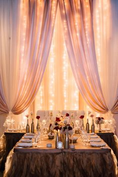 Intimate head table, T shape with twinkle lights, wedding ideas, head table…