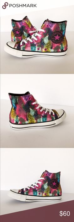 CONVERSE Feather Print High Top Sneaker (NEW) NEW. Add a splash of color to any outfit! Wear with leggings or denim cutoffs. Converse All-Star Chuck Taylor High Top Sneaker. Converse Shoes Sneakers