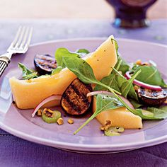 Cantaloupe and Grilled Fig Salad Recipe http://www.myrecipes.com/recipe/cantaloupe-grilled-fig-salad-10000001911347/#