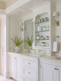 Vanity Cabinets, Flush Inset, Painted White