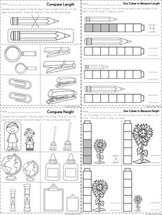 Worksheets for measuring length and height. Part of a kindergarten math unit on measurement.