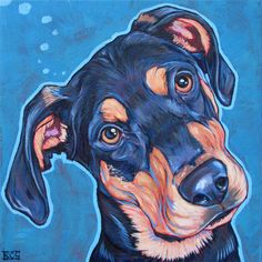 Trevor the Doberman and Rottweiler Mixed Breed by Bethany.