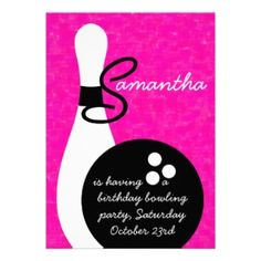 Shop Girls Bowling Birthday Party Invitation created by Beezazzler. Personalize it with photos & text or purchase as is! 10th Birthday Parties, Girl Birthday, Birthday Ideas, Bowling Birthday Invitations, Pink Watercolor, Watercolor Background, Invitation Design, Invite, Zazzle Invitations