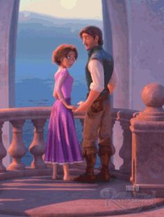 Click to see the gif! Eugene and Rapunzel's hands slide closer to each other on the railing! I'm dying! It's so cute!
