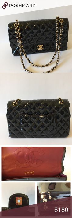 Chanel style patent leather jumbo flap bag 🎀 This is not an original item!  Excellent condition! Bags