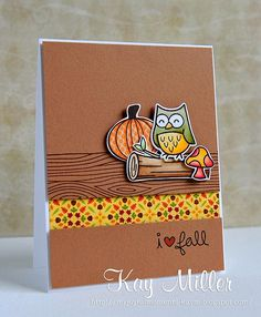 Lawn Fawn - Critters in the Forest, Into the Woods, Woodgrain Backdrops _ fun Fall themed card by Kay _ heartfall   http://greeting-cards-46.blogspot.com