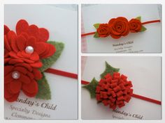 Red Felt Flower Headband Felt Christmas by MyMondaysChild on Etsy