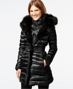 Elegant Hooded Long Sleeve Zip Up Faux Fur Splicing Down Coat For ...