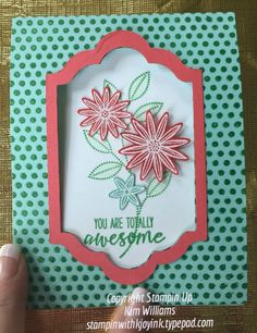 Stampin Up Grateful Bunch stamp set and coordinating Blossom Bunch punch. Stampin Up Occasions catalog 2016 new products and ideas. Www.stampinwithkjoyink.typepad.com. Kim Williams.