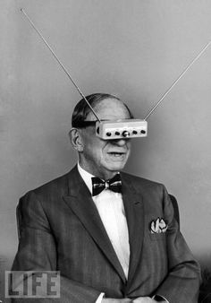 Come on, this guy invented these T.V. Glasses in 1963! They should be on the shelves at Walmart for $19.99 by now!