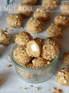 Salted Nut Roll Bites ~ These no bake bite sized snack can be whipped up in 10 minutes or less! Such a great lunchbox snack! Candy Recipes, Sweet Recipes, Snack Recipes, Dessert Recipes, Yummy Snacks, Delicious Desserts, Fudge, Salted Nut Rolls, Galletas Cookies
