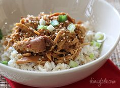 Crock Pot Sesame Honey Chicken - Sweet, savory and a little spicy, this simple Asian inspired chicken dish has a balance of flavor combinations.