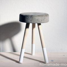 HomeMade Modern DIY $5 Bucket Stool, cement, wood dowels, paint dip leg,