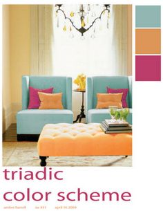 This is just a simple room. The verticle room is even and there is no main object o look at. It is a symmetrical pattern. The triadic colors look great together it is not to bright or not to dark.