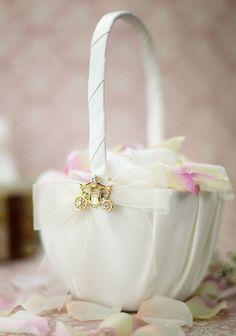 Elegant Fairy Tale Cinderella Coach Wedding Flowergirl Basket (Silver/Gold) - 80220 by weddingcollectibles on Etsy https://www.etsy.com/listing/215852496/elegant-fairy-tale-cinderella-coach