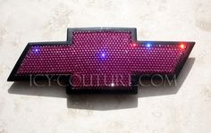 :) HOT PINK CHEVY Emblem, Bedazzled with Swarovski crystals! Bling Your Car! What your color? Pink Chevy Trucks, Custom Car Emblems, Chevrolet Emblem, Chevy Models, Car Accessories For Girls, Truck Accessories, Pink Bling, Bling Car, Chevy Girl