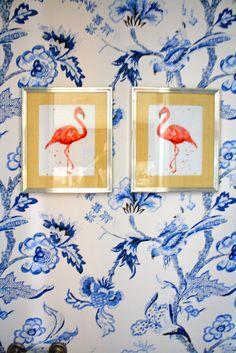 Some vintage Audubon pink flamingo prints or a figurine (very Palm Beach) White Wallpaper, Fabric Wallpaper, Home Design, Interior Design Kitchen, Modern Bathroom, Bathroom Ideas, Hall Bathroom, Bathrooms, Pink Flamingos