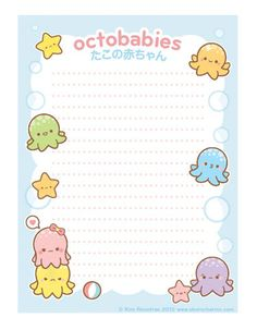 Octobabies Memo Pad by Oborocharms Origami, Planner Pages, Planner Stickers, Kawaii Planner, Simple Artwork, Cute Stationary, Kawaii Stationery, Kawaii Art, Writing Paper