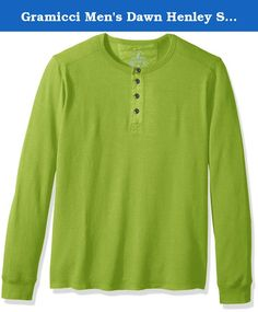 Gramicci Men's Dawn Henley Shirt, Green Glow, X-Large. Our Dawn Henley is a weekend workhorse made of hemp and organic cotton with spandex stretch and recovery. The textured knit offers a rugged step up from plain jersey fabrics, and the detailing follows suit: metal-button, poplin-lined placket; ribbed henley neck; and cover-stitched seams throughout. The slightly curved back hem provides a little extra coverage, and the cuffs are easy rib-finished.