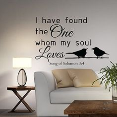 Wall Decal Quote I Have Found The One Whom My Soul Loves Song Of Solomon 3:4 Wall Art Bedroom Living Room Wedding Gift Home Decor Q146 #walldecals #lettering #vinylstickers #quotes http://www.amazon.com/dp/B010HWU6KE/ref=cm_sw_r_pi_dp_2-aawb16CRNVE