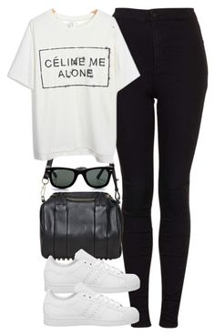 """""""Untitled #1856"""" by hiitsbre ❤ liked on Polyvore featuring Topshop, Alexander Wang, adidas and Ray-Ban"""