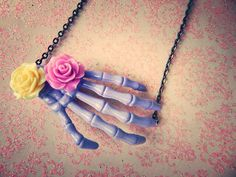 Lavender Skeleton Hand Necklace with Rose by AbbiesAnchor on Etsy, $8.75