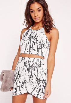 """good things come in small packages. shop our missguided petite range, for babes 5'3"""" and under. We're lovin' the marble look here at Missguided this season. In a 90's cropped style this one is top of the crops. With high neck line ..."""