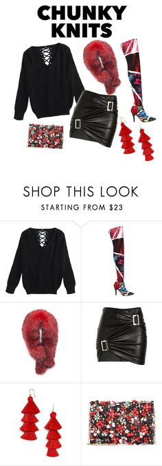 """""""Chunky Chic"""" by quoise ❤ liked on Polyvore featuring Moschino, Andrew Marc, Jitrois, BaubleBar and Oscar de la Renta"""