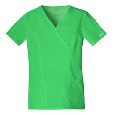 Cherokee Women's Workwear Scrubs Core Stretch Mock-Wrap Top (Small), Honeydew Mock wrap top Front princess seams Double needle top stitch Front patch pockets Right side pocket with a sectional pocket Cherokee Uniforms, Cherokee Scrubs, Core Stretches, Cherokee Woman, Medical, Scrub Tops, Princess Seam, V Neck Tops, Stretch Fabric