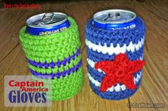 Have to love this cute pattern Captain America Soda Cozy. Go to their page will also see Iron Man and Hulk Soda Cozy. Have to add to collection.
