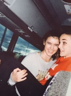 Kalani and Kendall being goofs on the bus ride to the competition