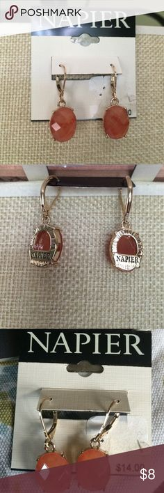 Selling this Coral colored Napier earrings w gold-toned setting on Poshmark! My username is: getrealclothes. #shopmycloset #poshmark #fashion #shopping #style #forsale #Napier #Jewelry