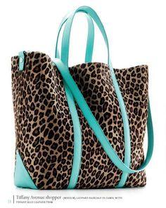 tiffany_avenue shopper medium leopard haircalf in camel with tiffany blue leather trim
