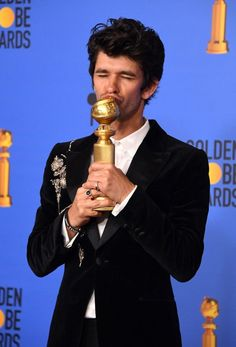 Best Performance by an Actor in a Supporting Role in a Series, Limited Series or Motion Picture Made for Television for 'A Very English Scandal' winner Ben Whishaw poses with the trophy during the annual Golden Globe Awards Golden Globe Award, Golden Globes, Ben Whishaw, The Late Late Show, Rosamund Pike, Best Supporting Actor, Catherine Zeta Jones, Teen Choice Awards, Rachel Weisz
