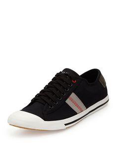 Earl Stripe Canvas Sneaker, Black by Ben Sherman