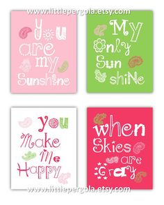You are my sunshine Pinks green and White Paisley Art for Kids Nursery or Playroom Space by Little Pergola Art on Etsy, $55.00