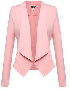 Beyove Womens Casual Work Office Blazer Open Front Long Sleeve Cardigan Jacket Pink XXL - All About Blazer Jackets For Women, Blazers For Women, Coats For Women, Clothes For Women, Women Blazer, Ladies Blazers, Blazer And Shorts, Blazer Outfits, Casual Blazer