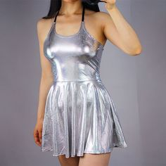 Metallic Silver Mermaid Wet Look Skater Dress Bodycon Mini Short Stretch Hologram Scoop Neck High Waist. Very soft stretchy materials and bodycon cut. Super cute! Close cut body-conscious fit top, circle skater skirt.