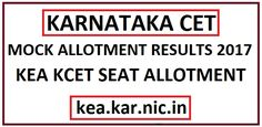 Karnataka CET Mock Seat Allotment 2017 KCET Allotment List