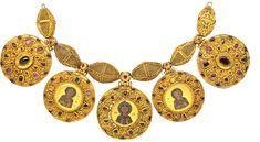 Necklace with pendants from Staraya Ryazan  This necklace is part of a hoard of treasures found in 1822 in Staraya Ryazan—one of the richest finds in terms of gold and silver ware from pre-Mongol Rus'. It included an impressive set of gold jewelry and ornaments. The necklace, probably intended for a woman, is made of large openwork gold beads, between which hang five large medallions of cloisonné enamel on gold: