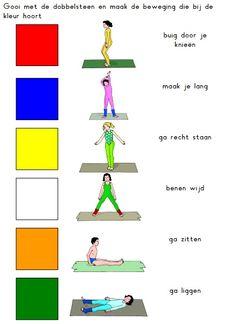 Bewegingsspel met kleurendobbelsteen