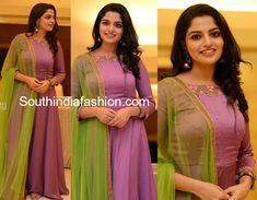 Nikhila Vimal in Prakrithi By Ramya – South India Fashion Long Dress Design, Dress Neck Designs, Fancy Blouse Designs, Designs For Dresses, Stylish Dress Designs, Indian Gowns Dresses, Indian Fashion Dresses, Indian Designer Outfits, India Fashion