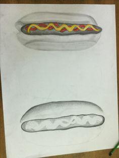 Deze les was ik bezig met de 2e hot dog en ik maak deze keer meer donkere vlaktes.