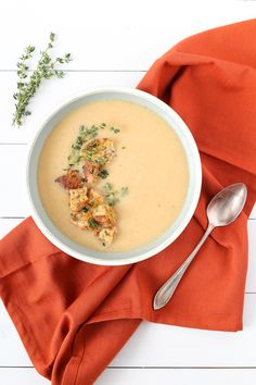 Roasted Cauliflower Soup, a cozy soup with savoury flavours that is perfect for the cooler months and topped with multigrain-thyme croutons.