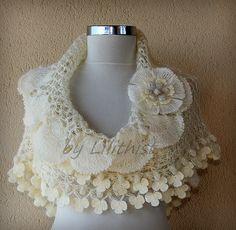 Ivory Gold Bridal Shawl Crochet Shawl Wedding Wrap by lilithist