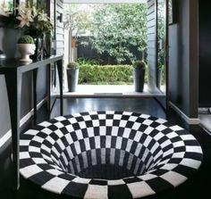 Vortex Illusion Rug Cool Illusions, Optical Illusions, Living Room Carpet, Living Room Bedroom, Bedroom Office, New Carpet, Rugs On Carpet, Illusion 3d, Custom Rugs